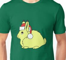 Yellow Arctic Hare with Christmas Red Santa Hat Unisex T-Shirt