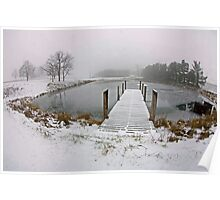 Snow on Pier, In Color Poster