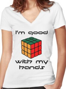 Rubix Cube - Good with my hands Women's Fitted V-Neck T-Shirt