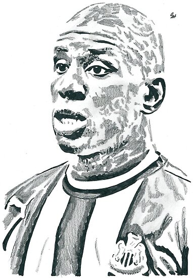 Demba Ba Newcastle Pencil & Ink Sketch by chrisjh2210