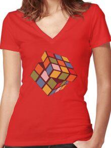 Rubix Cube - Plain Women's Fitted V-Neck T-Shirt