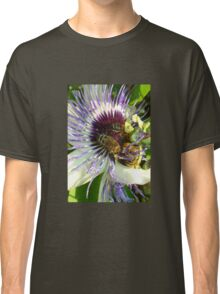 Close Up Of  Passion Flower with Honey Bee Classic T-Shirt