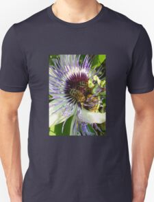 Close Up Of  Passion Flower with Honey Bee Unisex T-Shirt