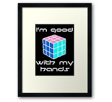 Rubix Cube - Good with my hands. Negative Space Framed Print