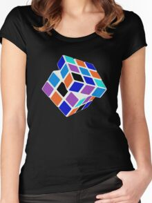 Rubix Cube - Unsolved. Negative Space Women's Fitted Scoop T-Shirt