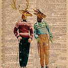 Antique Dictionary Page Snow Ski Deer by Gidget26