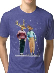 Antique Dictionary Page Snow Ski Deer Tri-blend T-Shirt