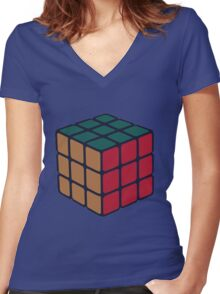 Rubix Cube - Plain Women's Fitted V-Neck T-Shirt