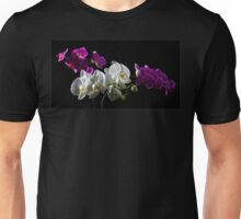 Purple and white orchid on black Unisex T-Shirt