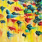 HERE COMES THE RAIN - Abstract Acrylic Painting Rain Storm Clouds Colorful Rainbow Modern Impasto by EbiEmporium