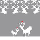 Cervidae Deer Pattern with Heart by carmanpetite