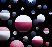Blue Balls with American Flags by TinaGraphics