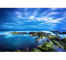 Dusk over calm blue sea over ocean and cloudy sky in Port Fairy, Victoria, Australia Photographic Print