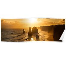 Backlit 12 Apostles golden sunset Poster
