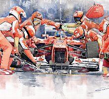 Ferrari F 2012 Fernando Alonso Pit Stop by Yuriy Shevchuk