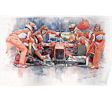 Ferrari F 2012 Fernando Alonso Pit Stop Poster