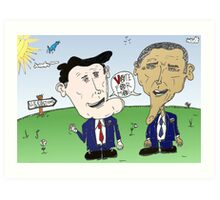 Caricature of Romney and Obama before Election Day Art Print