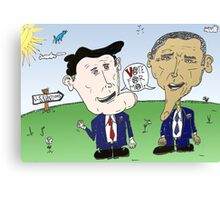 Caricature of Romney and Obama before Election Day Canvas Print