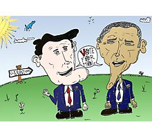 Caricature of Romney and Obama before Election Day Photographic Print