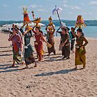 Funeral procession on Jimbaran beach, Bali. by Michael Brewer