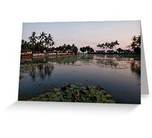 Sunset at the Sacred Lake in Candidasa Greeting Card