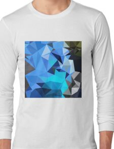 Air Force Blue Abstract Low Polygon Background Long Sleeve T-Shirt