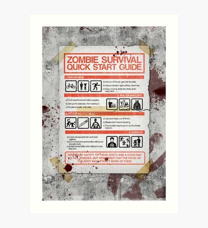 Zombie Survival - Quick Start Guide Art Print
