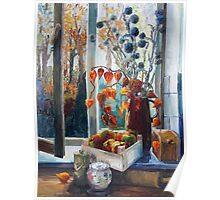 Autumn At The Kitchen Window Poster