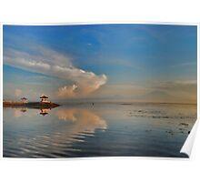 Sanur pagodas and Agung at dawn Poster