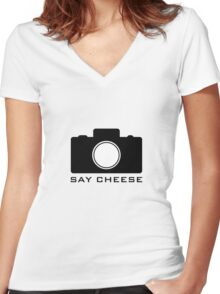 Say Cheese Women's Fitted V-Neck T-Shirt
