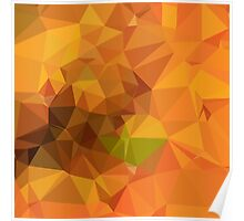 Deep Carrot Orange Abstract Low Polygon Background Poster