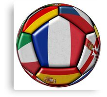 Soccer ball with flags - flag of France in the center Canvas Print