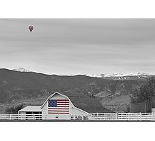 Hot Air Balloon Boulder Flag Barn and Eldora BWSC Photographic Print