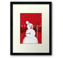 Happy Singing Snowman Christmas  Framed Print