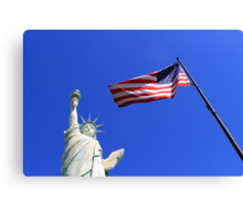 Statue of Liberty and American Flag Canvas Print