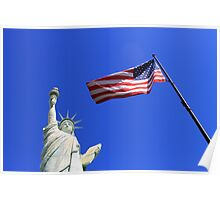 Statue of Liberty and American Flag Poster