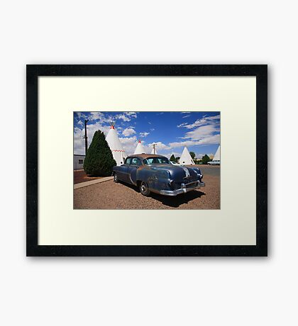 Route 66 Wigwam Motel and Classic Car Framed Print
