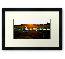 Barbed wire in the evening Framed Print