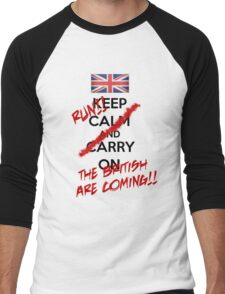 The British Are Coming! (black text) Men's Baseball ¾ T-Shirt
