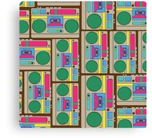 Retro Colorful Boombox Pattern Canvas Print