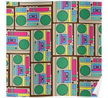 Retro Colorful Boombox Pattern Poster
