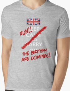 The British Are Coming! (white text) Mens V-Neck T-Shirt