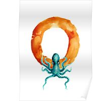 Watercolor alphabet octopus painting Poster
