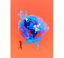 Psychedelic Bubble Earth Splash Watercolor Pepe Psyche Photographic Print