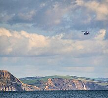 Helicopter Leaving Lyme  by lynn carter