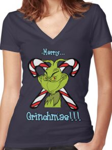 Merry Grinchmas Women's Fitted V-Neck T-Shirt