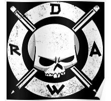 Draw Everyday - Artsy Vector Skull based Design (White on Black) Poster