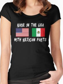 American Mexican Born In USA With Mexican Parts Women's Fitted Scoop T-Shirt