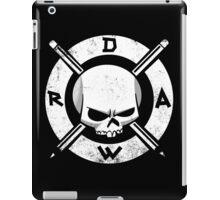 Draw Everyday - Artsy Vector Skull based Design (White on Black) iPad Case/Skin