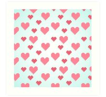 Abstract 8-bit pink and blue heart pattern Art Print